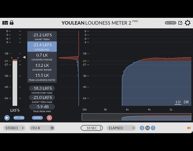 【音圧確認に最適】フリーラウドネスメータープラグイン「Youlean Loudness Meter 2」