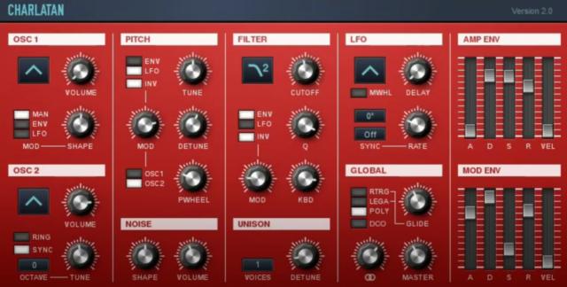 シンプルなUIで多彩な音を生み出すシンセサイザー「Charlatan」