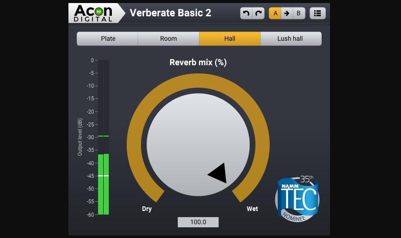 簡単UI高品質なフリーリバーブプラグイン「Verberate Basic 2」