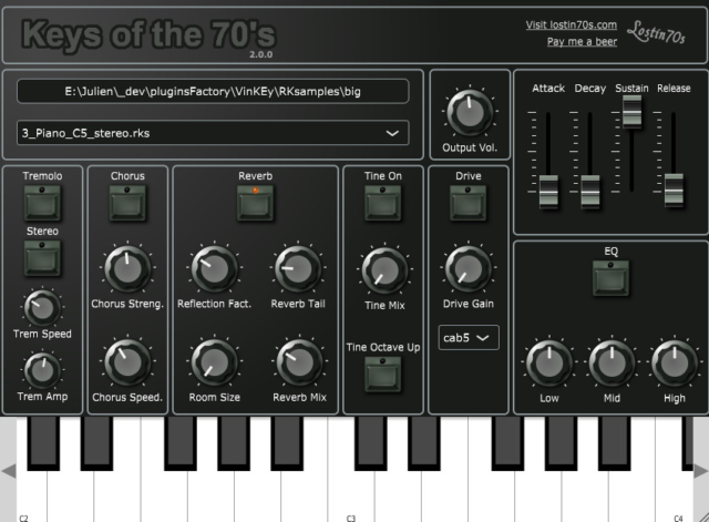 フリーのヴィンテージ系鍵盤楽器、70年代のキーボードをサンプリング「Keys of the 70s」